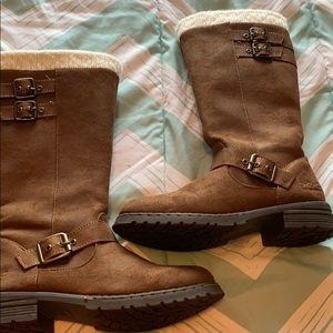 Kids brown BOC fur lined sweater boots